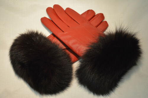 Brand new and Custom Made! Leather Gloves with Fur Cuffs