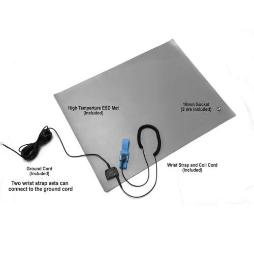 "Wrist Strap ESD Compliant Mat 16/""x24/""x.060/"" Ground Cord /& Universal Snap Kit"
