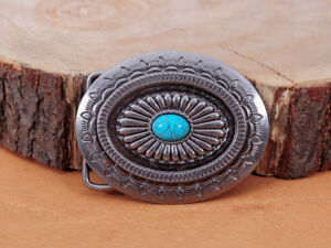 Vintage-Silver-Native-American-Indian-Navajo-Floral-Turquoise-Belt-Buckle-Huge