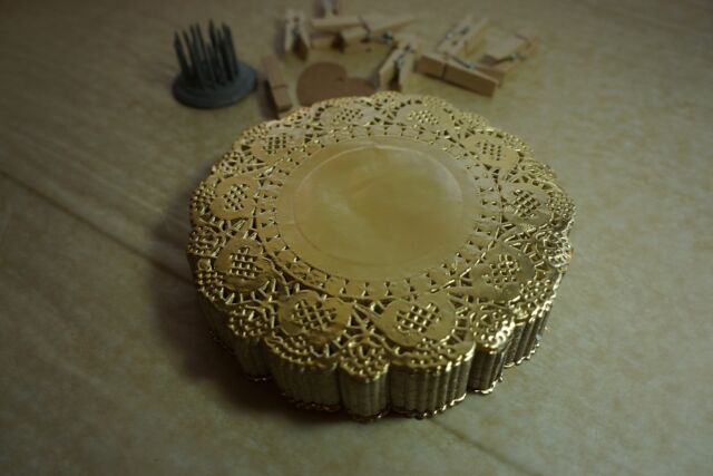 "20 Metallic Golden Round Paper Lace Doilies 4.5"" (115mm) *special occasion*"