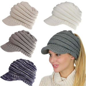 Women-039-s-Pony-Tail-Beanie-Hat-Warm-Winter-Knit-Slouch-Ski-Cap-Hat-Many-Colors