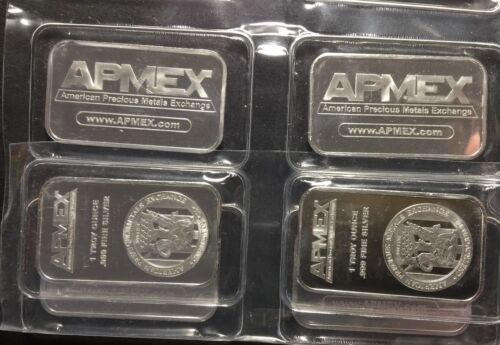 .999 Pure Fine Silver SEALED Bar LOT Bullion 4 Bars APMEX FOUR 1 Troy oz