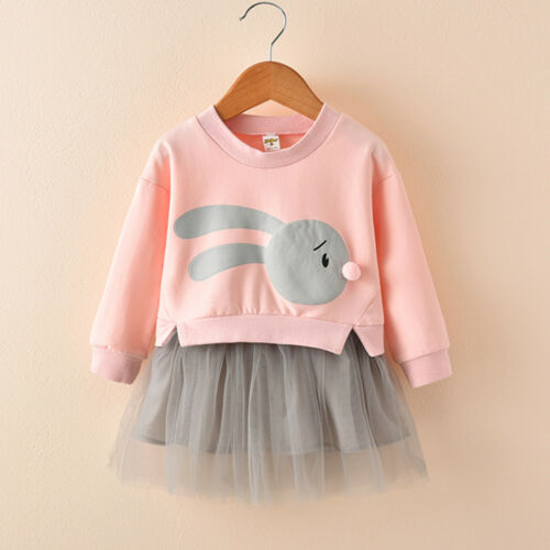 Kids Bunny imprimé princesse patchwork Sweat Tulle Mini robe Baby Girl Outfit