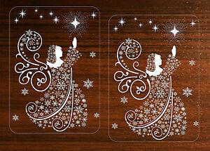 2-Adesivi-Decalcomanie-Angel-Fiocchi-di-Neve-Natale-Finestrino-Decorazioni-Regalo-Riutilizzabile