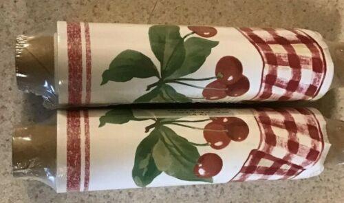 Rosedale Wallpaper Border Red Cherries Gingham Scalloped Lot of 2 BKB3008