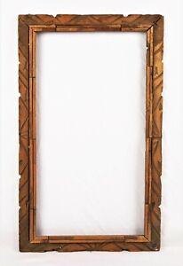 Antique-Folk-Art-Black-Forest-Adirondack-Wood-Carved-Picture-Frame-20-034-x-11-034