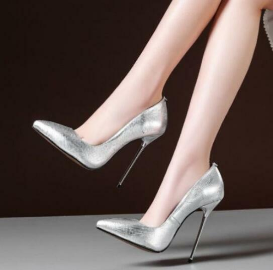 Womens 2018 High Heel Pointed 12.5cm Toe Shoes Nightclub Party 12.5cm Pointed Stilettos Pumps d7b278