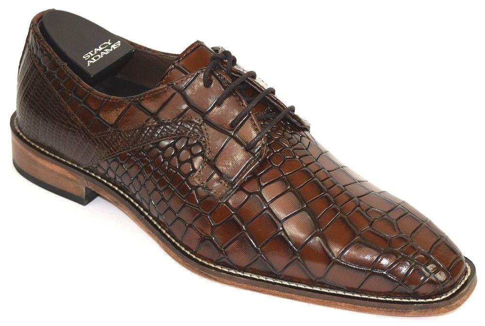 Men's Dress shoes Plain Toe Oxford Cognac Brown Leather STACY ADAMS TRIOLO 25211