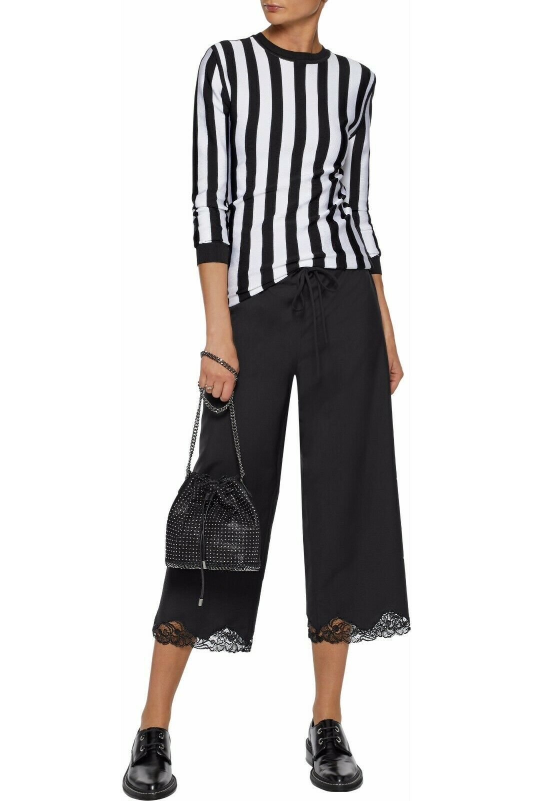 ALEXANDER WANG Cropped lace-trimmed wool-blend wide-leg pants Sz L