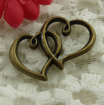 free ship 22 pieces bronze plated heart connector 32x20mm #2329
