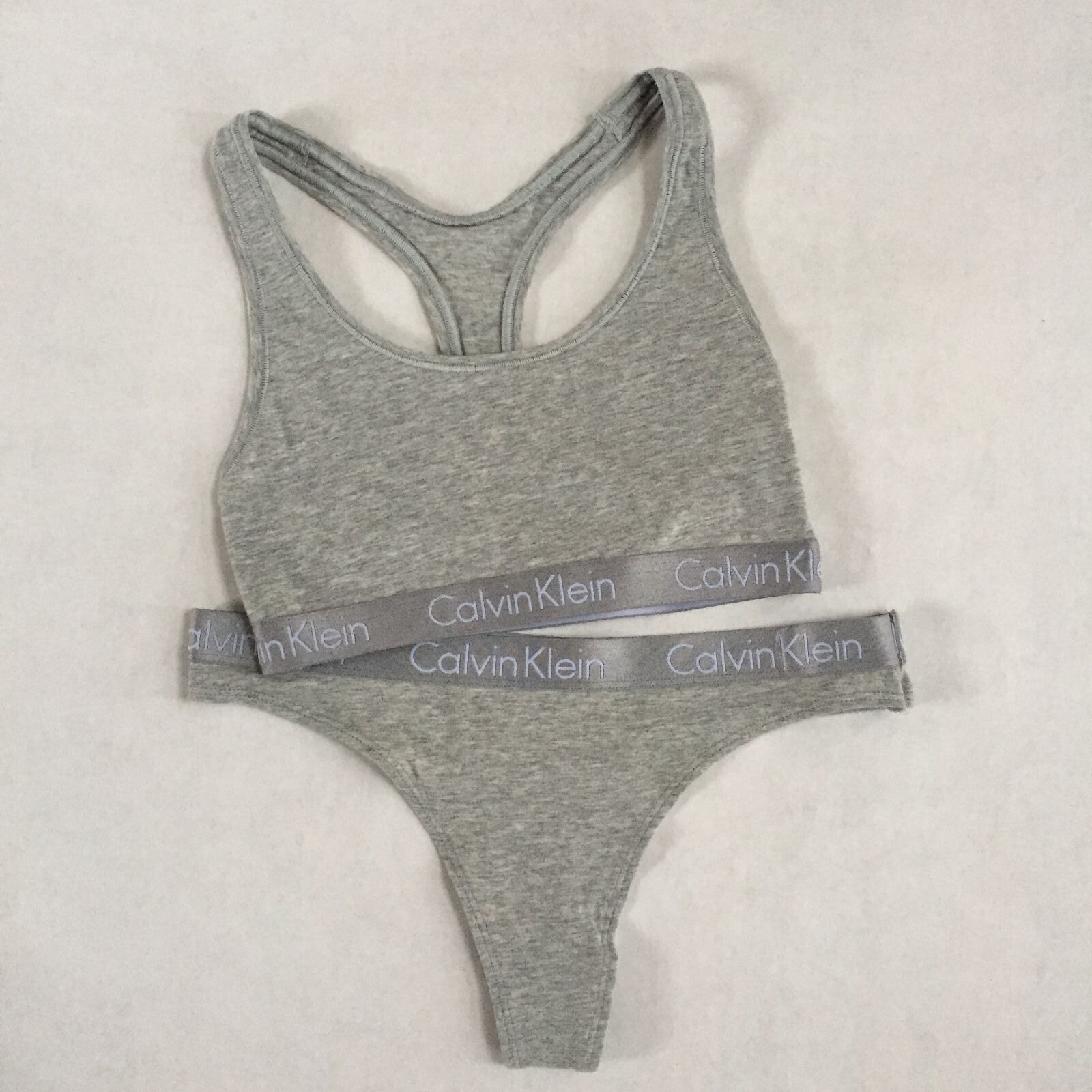 8904550a9e1dd9 Calvin Klein Radiant 2 pc Underwear Grey Sports Bra Bralette   Thong Set CK