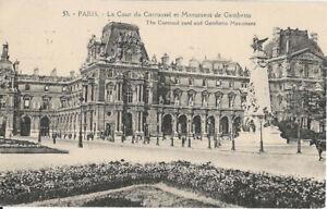 Cpa Paris - La cour du Carrousel et monument de Gambetta