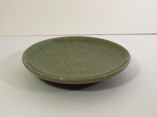 CELADON GLAZE W/ACCENTED CRACKS FOOTED PLATE / DISH - SIGNED JAPAN
