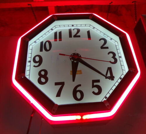 Electric Neon Clock  Cleveland clock Brass set rod new reproduction 6 8 sided