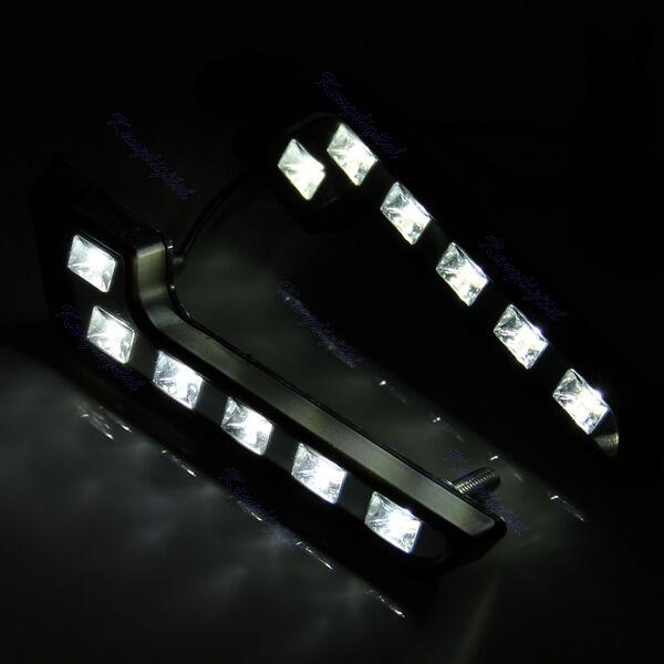 Universal 12V 2X 6 LED White Car Auto Driving Lamp Fog DRL Daytime Running Light