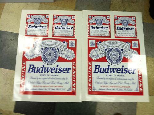 Budweiser cornhole board decals 17  (2) and 8  (4)