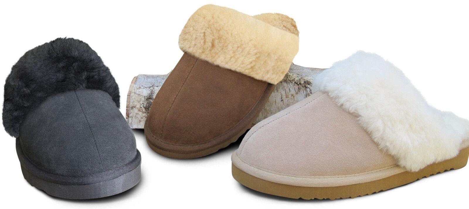 warme Lammfell Pantoffeln Hausschuhe Hausschuhe Pantoffeln Heitmann Damen + Herren Fell Schuhe 36-46 e350ef