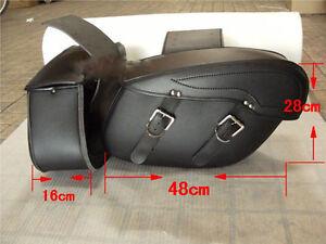 Black-Motorbike-Panniers-Rider-Leather-Motorcycle-universal-Cruiser-Saddle-Bags