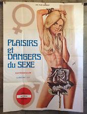 affiche originale- PLAISIRS ET DANGERS DU SEXE -120x160-érotique-sexy-pin-up