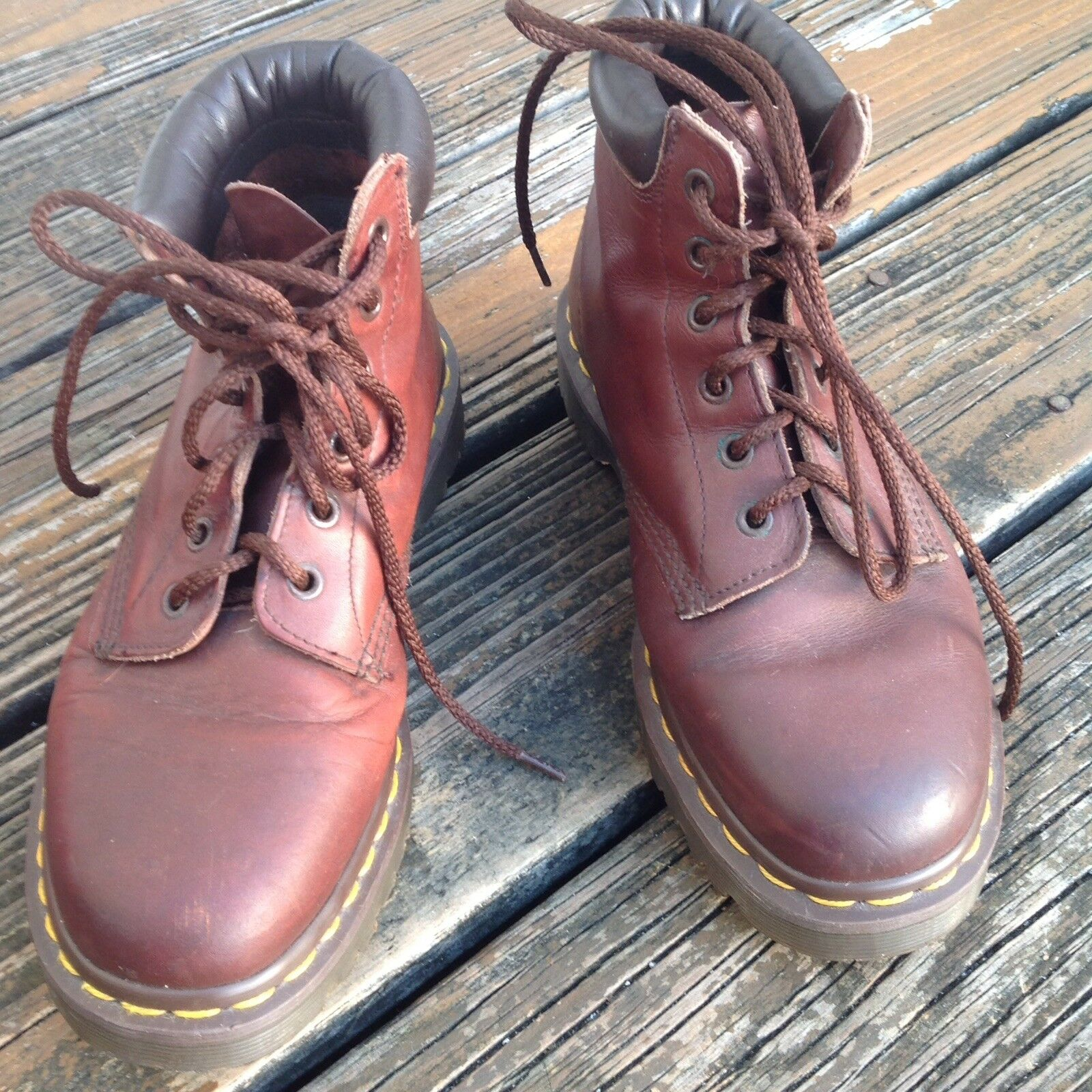 Vintage Dr Martens Docs Brown Leather Boots Mens 7 Womens 8 UK 6 shoes England