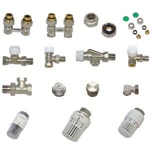 Hahnblock-Thermostatventil-Thermostatkopf-Heizkoerper-Anschluss-Set-Verschraubung