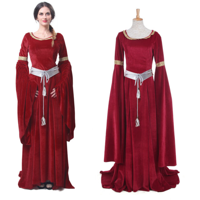 Medieval Red Blue Renaissance Celtic Queen Gown Cosplay Dress ...