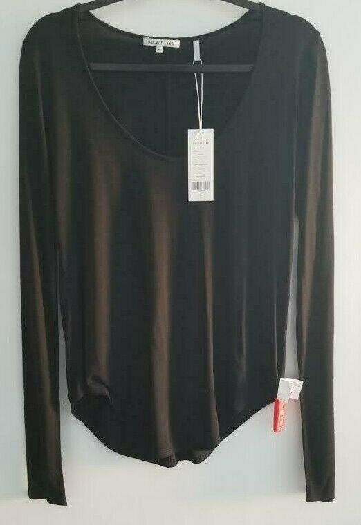 Helmut Lang Long Sleeve schwarz T Shirt Scoop Neck Tunic Top Blouse Mediu NWT