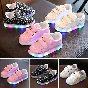 Nourrisson-Enfants-Garcon-Filles-Lumineux-Baskets-Illumine-Chaussures-Led-Acy