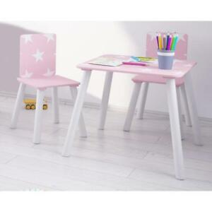 85c4c6ccf73 Pink Childrens Table And Chairs Kids Wooden Desk Bedroom Playroom ...