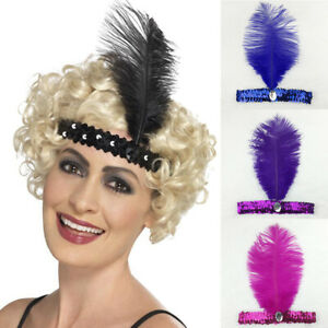 Vintage-1920-039-s-Burlesque-Headpiece-Flapper-Ostrich-Feather-Fancy-Headband-New