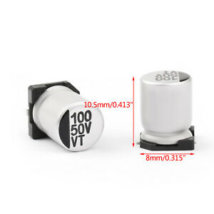 500x-50V-100uF-8-10-5mm-20-SMD-Condensatori-elettrolitici-Chip-E-Cap-IT
