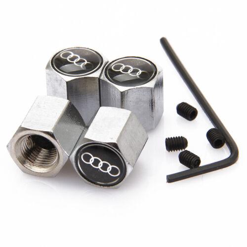 AUDI Nero anti furto in Metallo Cromato Valvola Pneumatico dust cap