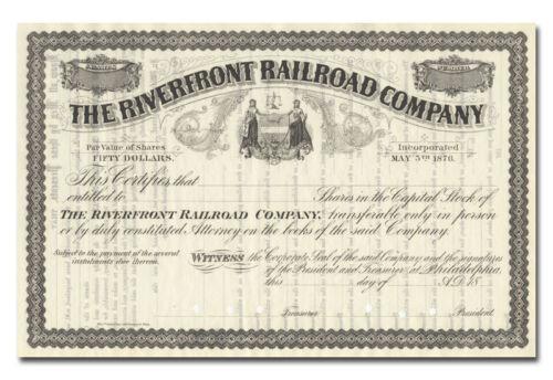 Riverfront Railroad Company Stock Certificate Philadelphia Waterfront Line