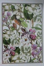 Michel Design Works Kitchen Dish Tea Towel ~ Magnolia Flowers Ivory Pink  Purple
