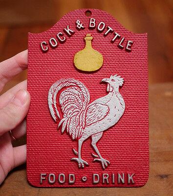 """Vintage EMIG """"Cock & Bottle Food Drink"""" Repro Cast Metal Tavern Bar Sign USA"""