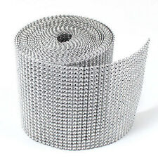 "4.75""x10 Yards Silver DIAMOND MESH WRAP ROLL SPARKLE RHINESTONE Crystal Ribbon"