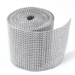 4-75-034-x10-Yards-Silver-DIAMOND-MESH-WRAP-ROLL-SPARKLE-RHINESTONE-Crystal-Ribbon