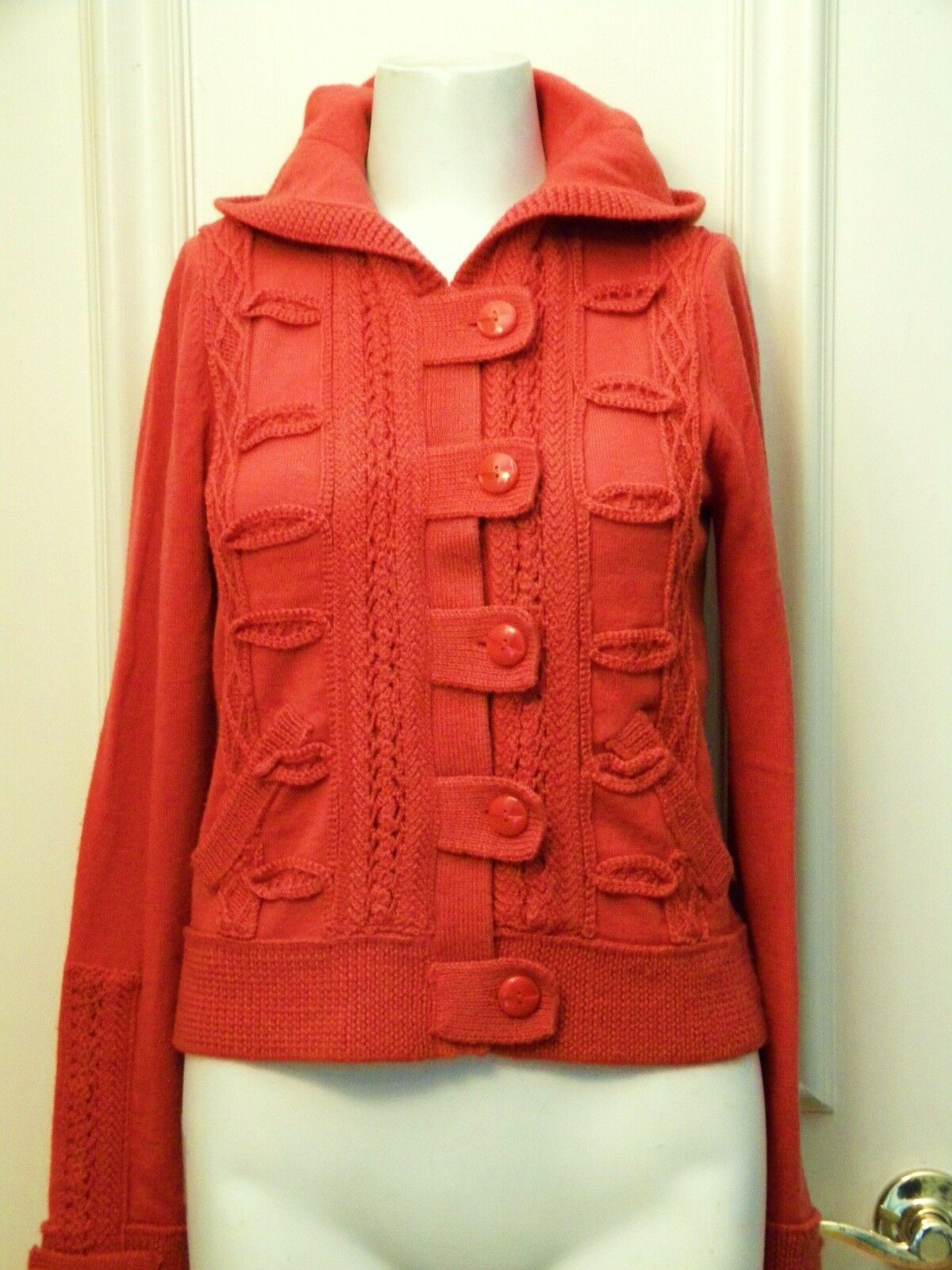 LiaMolly Button Tab Hoodie rust wool S decorative stitch long sleeve cardi boho