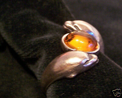 STERLING SILVER with AMBER SET DOLPHIN RING SIZE 8 P½ OR 8½ Q½
