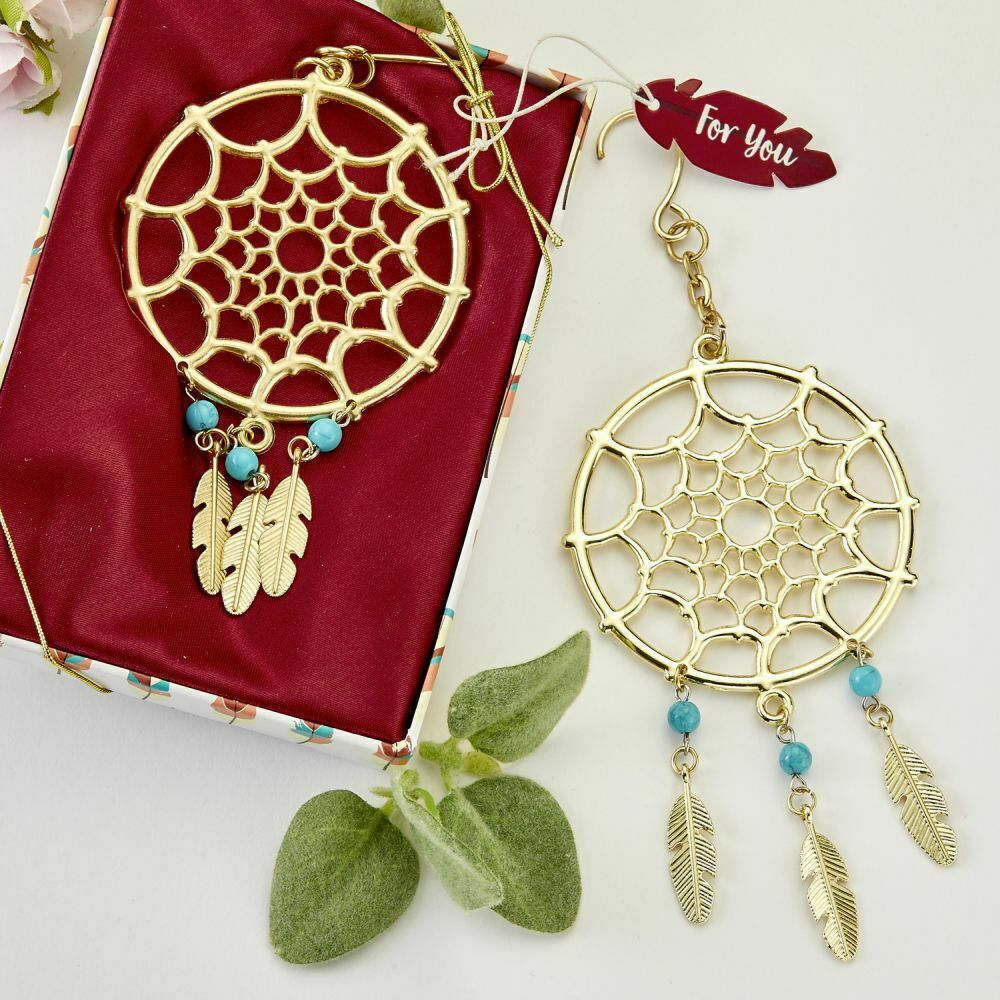 15-144 Gold Dream Catcher Hanging Ornament Southwest Wedding Shower Party Favor