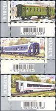Ukraine 2012 Railway Carriages/Railways/Rail/Trains/Transport 3v barcode n41644a