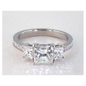 2-cts-Vs2-H-VINTAGE-3-Piedra-PRINCESA-Anillo-De-Compromiso-Con-Diamante-18ct