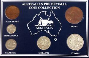 1957-Australian-pre-decimal-coin-collection-no-half-penny-minted-in-1957