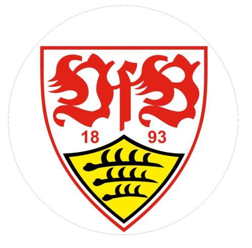 GROSSER VFB STUTTGART AUFKLEBER 9,5cm RUND STICKER BUTTON ROT GELB WEISS AUTO !!
