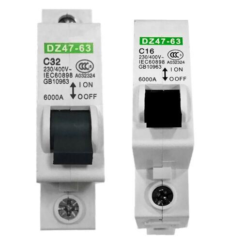 Toggle Circuit Breaker 16//32 Amp for Household 230V//400V 1-Pole