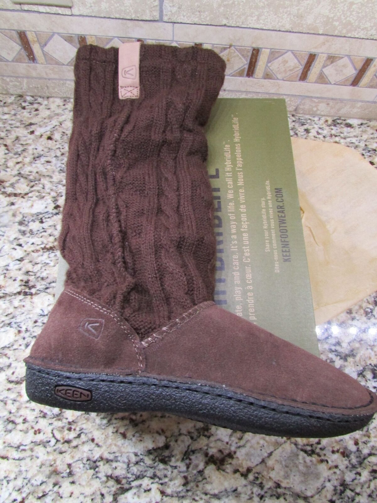 NEW KEEN AUBURN SUEDE & KNIT TALL  BOOTS WOMENS 5.5 BROWN