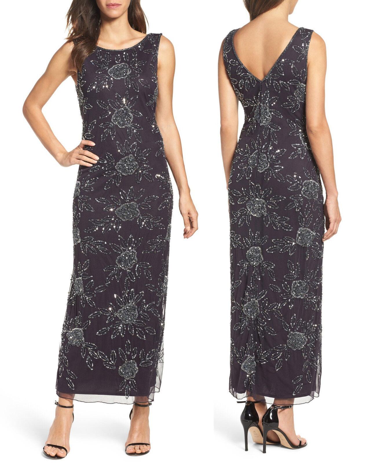 NWT Pisarro Nights Beaded Mesh Gown Dress EGGPLANT Size 10P