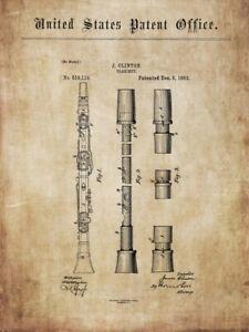 Antike Klarinette: alte Konstruktionen, Ideen 1869 - 99 für Poster, Druck, Deko