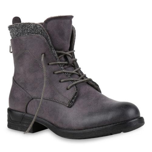 894014 Schuhe Damen Schnürstiefeletten Zipper Glitzer Stiefeletten Trendy