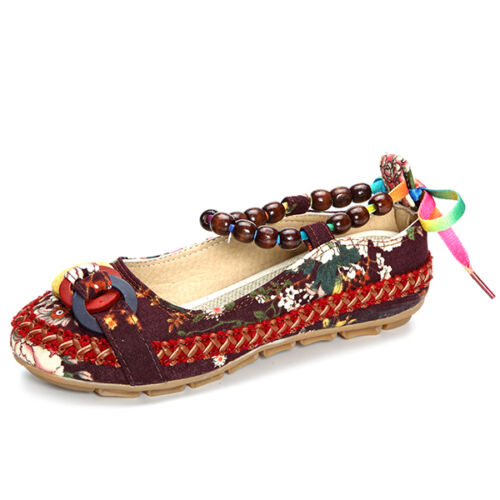Genuine SOCOFY Women Casual Flats Beading Round Toe Colorful Comfortable Shoes